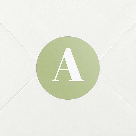 Stickers pour enveloppes naissance Initiale vert - Vue 2