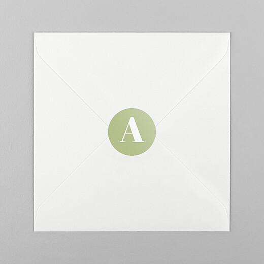 Stickers pour enveloppes naissance Initiale vert - Vue 1