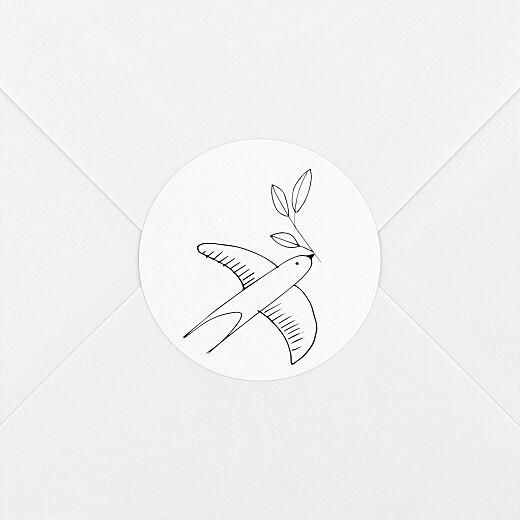 Stickers pour enveloppes baptême Orphée blanc - Vue 2