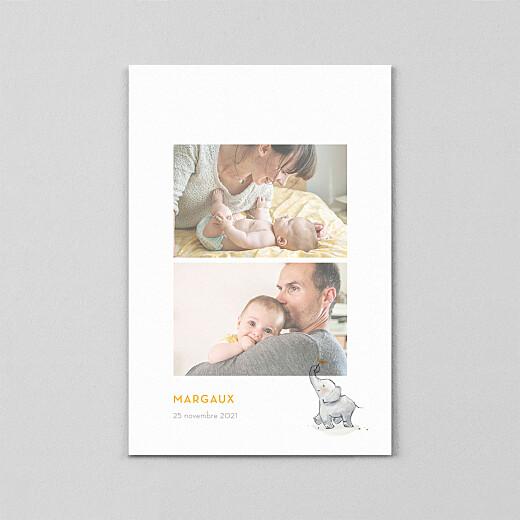 Faire-part de naissance Bienvenue éléphant (calque) jaune - Vue 2