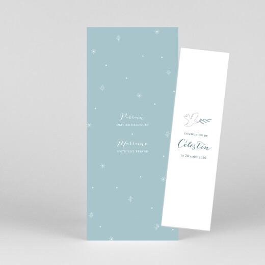 Faire-part de communion Douce colombe (marque-page) bleu - Vue 1