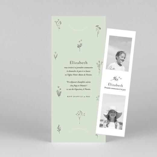Faire-part de communion Herbier (marque-page) vert - Vue 1