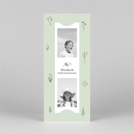 Faire-part de communion Herbier (marque-page) vert - Vue 2