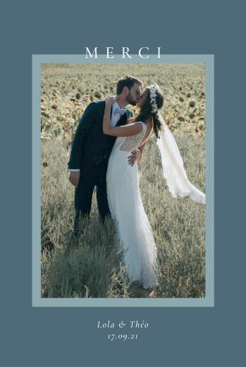 Carte de remerciement mariage Cadre pastel bleu