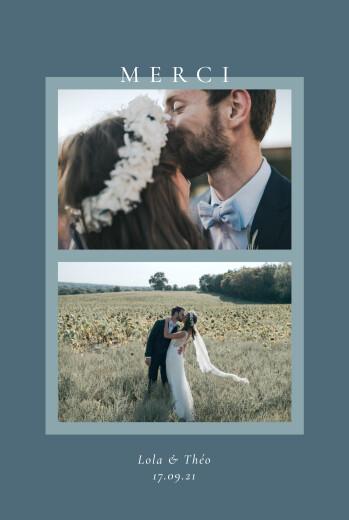 Carte de remerciement mariage Cadre pastel 2 photos bleu
