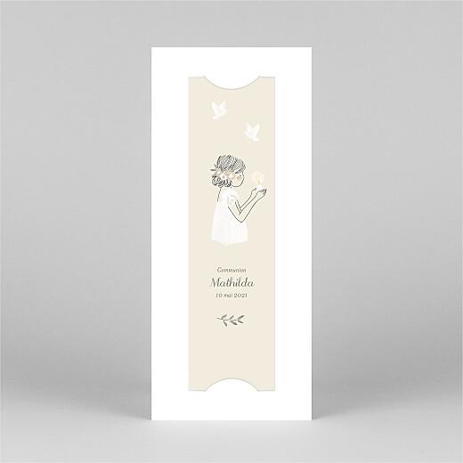 Faire-part de communion Douce lueur (marque-page) rose - Vue 2