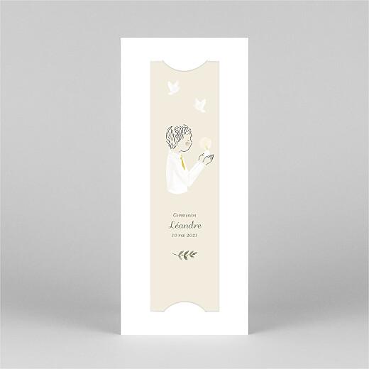 Faire-part de communion Douce lueur (marque-page) jaune - Vue 2
