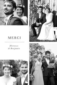 Carte de remerciement mariage Doux instants (portrait) blanc