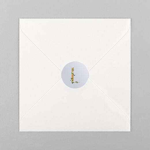 Stickers pour enveloppes naissance Lettres fleuries jaune et bleu - Vue 1