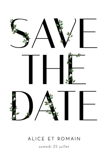 Save the Date Lettres fleuries blanc
