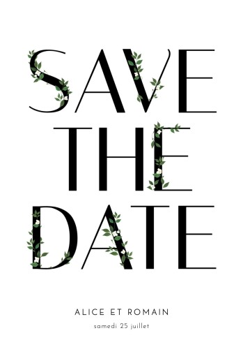 Save the Date Lettres fleuries (photo) blanc