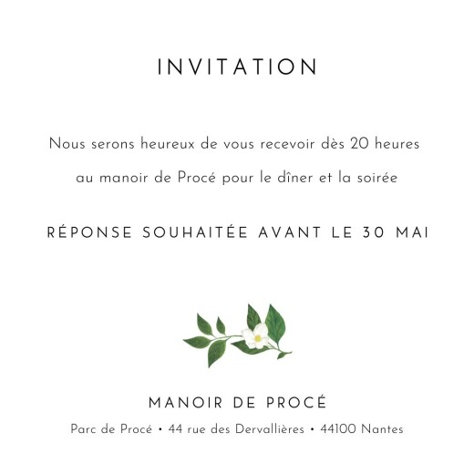Carton d'invitation mariage Lettres fleuries blanc - Page 2