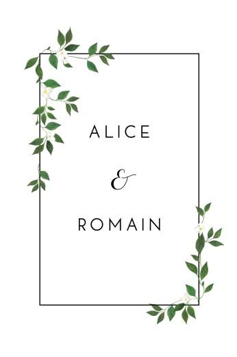 Carton d'invitation mariage Lettres fleuries (portrait) blanc