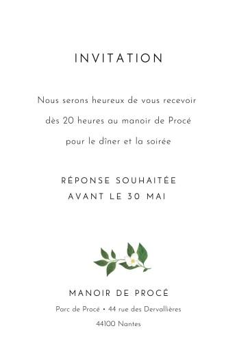 Carton d'invitation mariage Lettres fleuries (portrait) blanc - Page 2