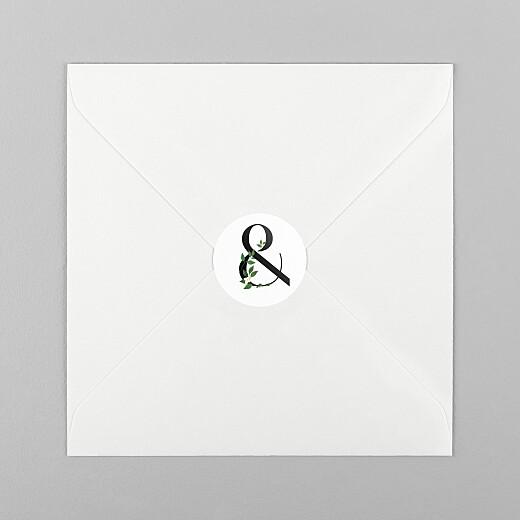 Stickers pour enveloppes mariage Lettres fleuries (esperluette) blanc - Vue 1