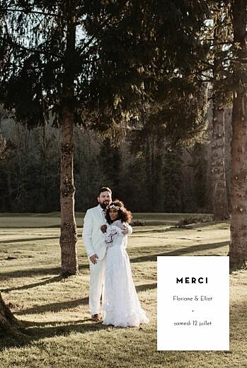 Carte de remerciement mariage Cartouche blanc
