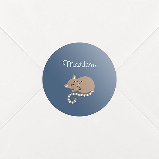 Stickers Naissance La famille des animaux bleu - Vue 2