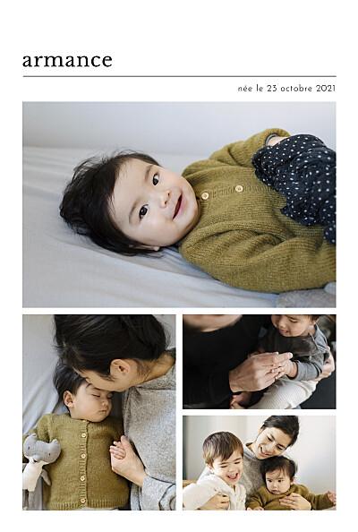 Faire-part de naissance Édito (multi photos) blanc finition