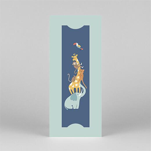 Faire-part de naissance La famille des animaux (marque-page) bleu - Vue 2