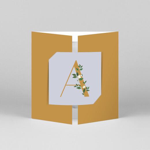 Faire-part de naissance Lettres fleuries (fenêtre) bleu ocre - Vue 1