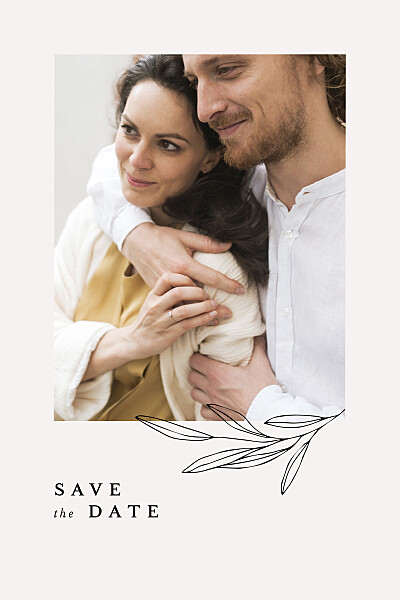 Save the Date Jeune pousse beige finition