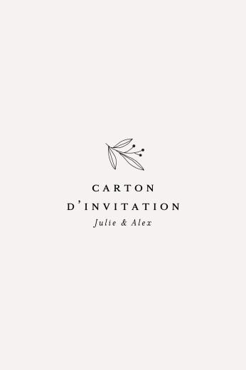 Carton d'invitation mariage Jeune pousse beige