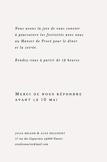 Carton d'invitation mariage Jeune pousse beige - Page 2