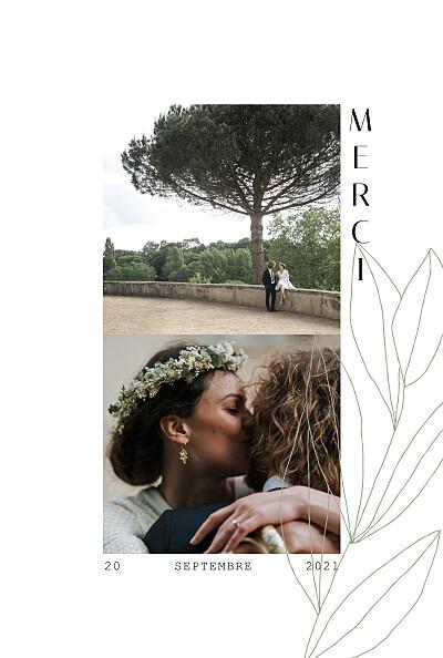 Carte de remerciement mariage Saison vert finition