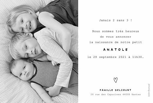 Faire-part de naissance Ma famille et moi (3 enfants) paysage blanc - Page 2