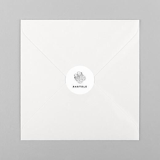 Stickers pour enveloppes naissance Ma famille et moi blanc - Vue 1
