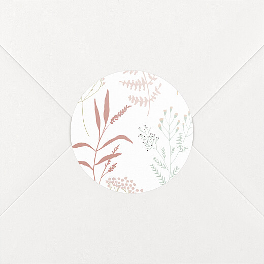 Stickers pour enveloppes naissance Liberty feuillage rose - Vue 2