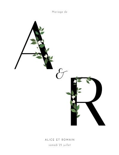Faire-part de mariage Lettres fleuries (portrait) blanc