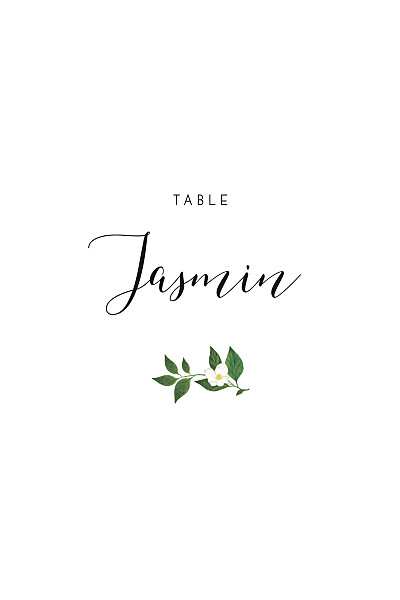 Marque-table mariage Lettres fleuries blanc finition