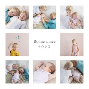 Carte de voeux Simple 8 photos blanc