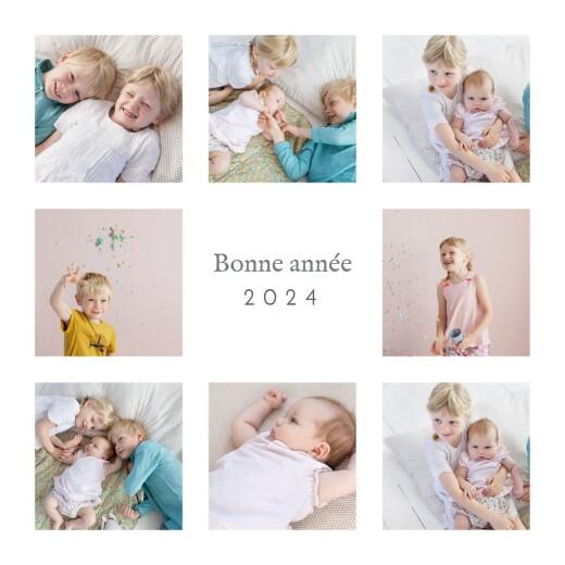 Carte de voeux Simple 8 photos blanc