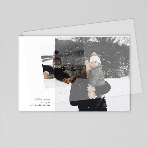 Carte de voeux Sobre (calque) paysage blanc - Vue 1