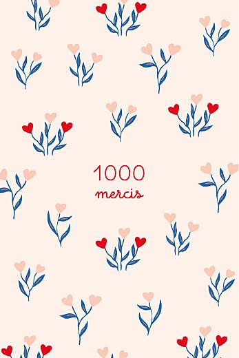 Carte de remerciement Jardin de flœurs rouge