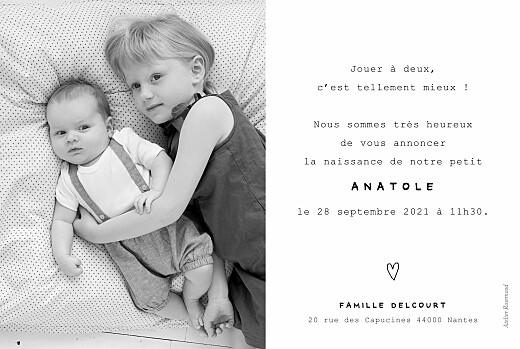 Faire-part de naissance Ma famille et moi (2 enfants) paysage blanc - Page 2