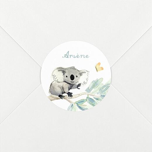 Stickers pour enveloppes naissance Koalas en famille blanc - Vue 2