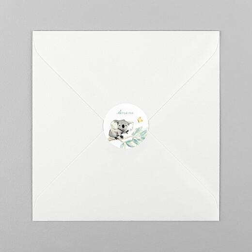 Stickers pour enveloppes naissance Koalas en famille blanc - Vue 1