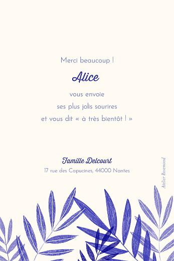 Carte de remerciement Feuillage crayonné bleu - Page 2