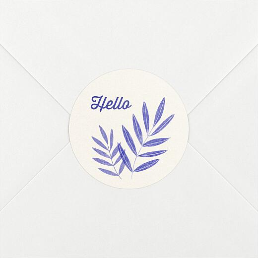 Stickers pour enveloppes naissance Feuillage crayonné bleu - Vue 2