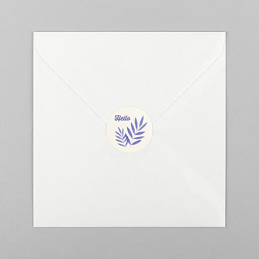 Stickers pour enveloppes naissance Feuillage crayonné bleu - Vue 1
