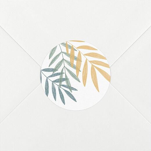 Stickers pour enveloppes naissance Feuillage crayonné jaune - Vue 2