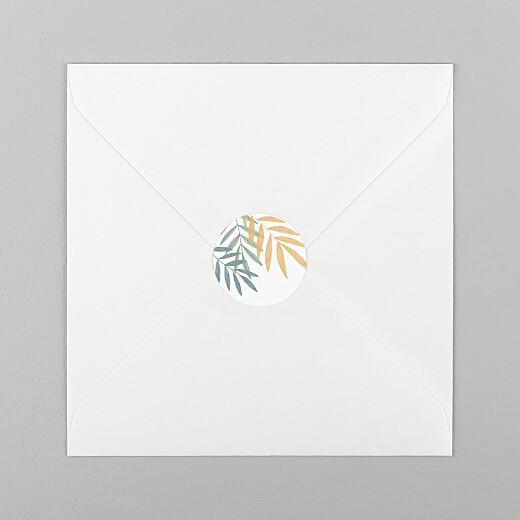 Stickers pour enveloppes naissance Feuillage crayonné jaune - Vue 1