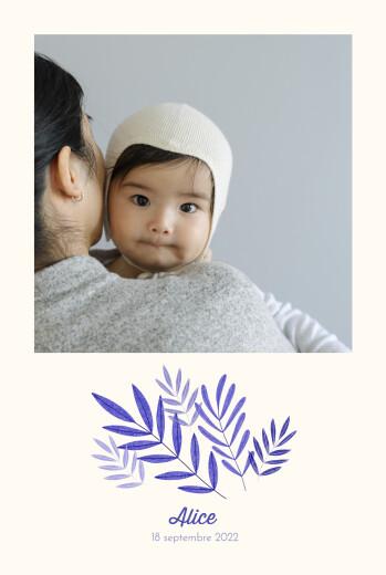 Faire-part de naissance Feuillage crayonné bleu