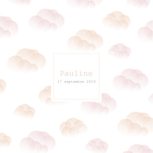 Faire-part de naissance Brume (dorure) rose orange