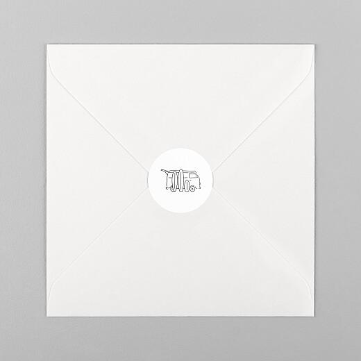 Stickers pour enveloppes naissance Première vague noir - Vue 1
