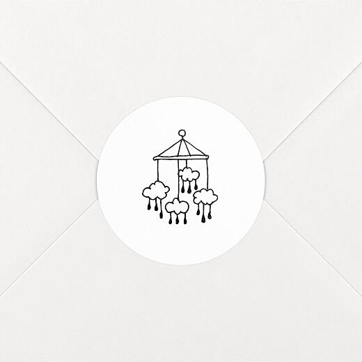 Stickers pour enveloppes naissance Petite gravure blanc - Vue 2