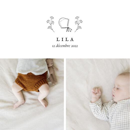 Faire-part de naissance Petite gravure (4 pages) blanc